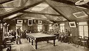 a katonák számára kialakított biliárd szoba az I- világháború idején